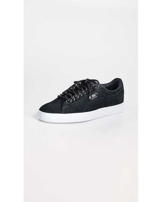 dde1436567a0 PUMA - Black Suede Chain Sneakers - Lyst ...
