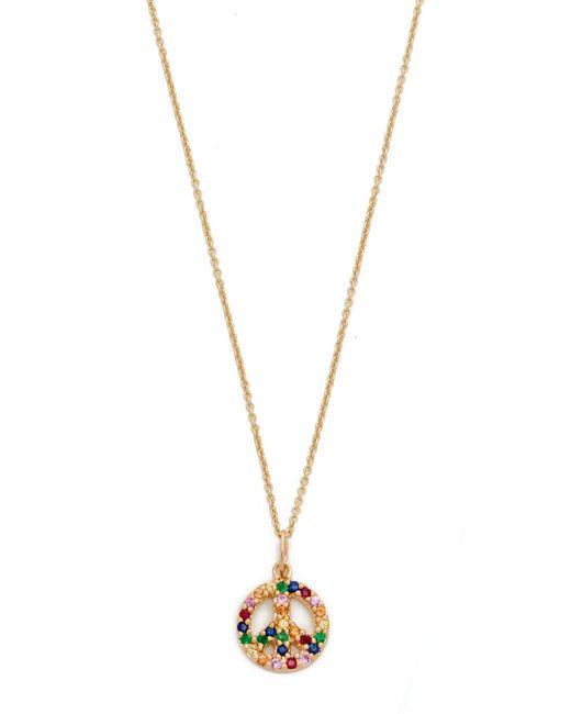 Sydney Evan - Metallic Small Rainbow Peace Sign Charm Necklace - Lyst