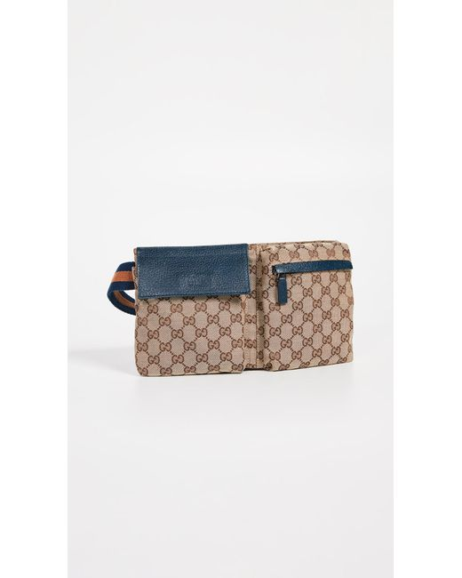 8c2781d531c What Goes Around Comes Around - Blue Gucci Canvas Waist Pouch - Lyst ...