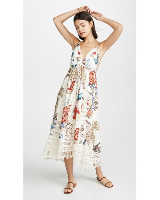 9ac0ac070a2e ... Farm Rio - White Romantic Floral Mini Dress - Lyst ...