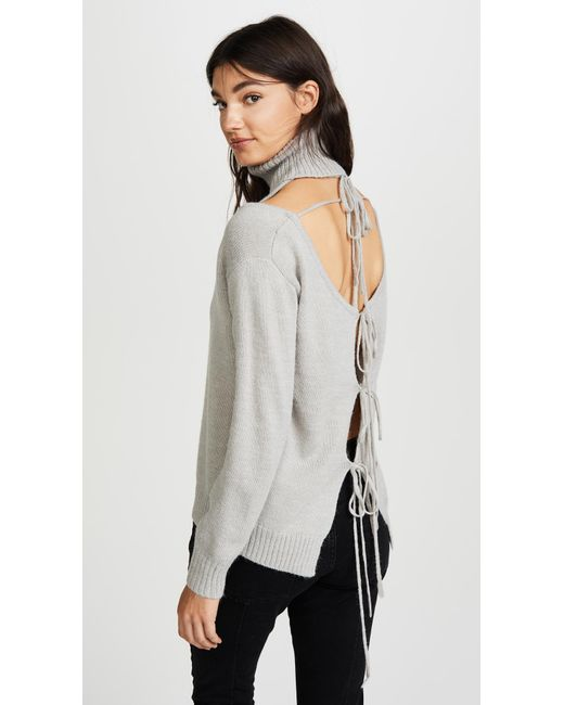 Glamorous | Gray Cold Shoulder Turtleneck Sweater | Lyst