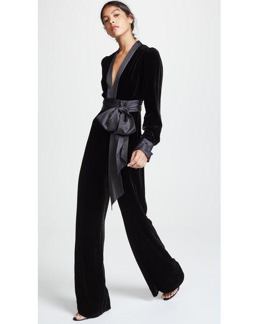 Diane von Furstenberg - Black Sash Jumpsuit - Lyst