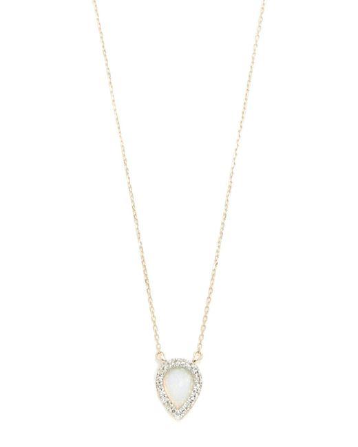 Adina Reyter | Metallic Small Opal & Diamond Teardrop Pendant Necklace | Lyst