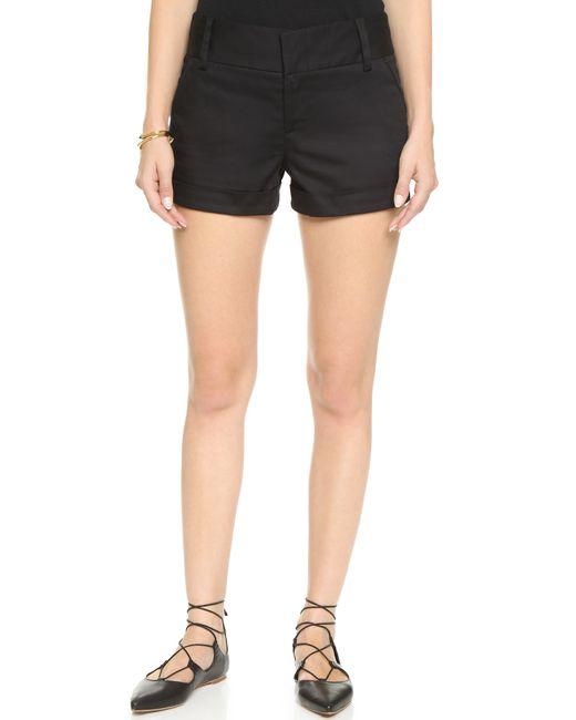 Alice + Olivia | Black Cady Cuff Shorts | Lyst