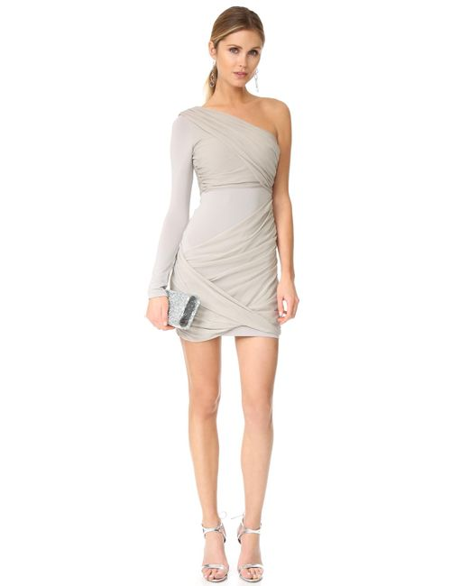 Alice   olivia Crissy Wrap One Sleeve Goddess Dress in Gray | Lyst