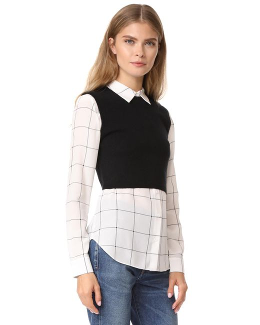 Alice olivia lucinda jumper vest combo shirt in black lyst for Sweater and dress shirt combo