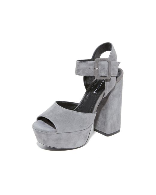 Alice + Olivia | Gray Lily Suede Platform Sandals | Lyst