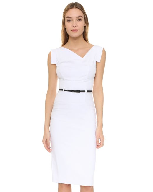 Lyst Black Halo Jackie O Belted Dress In White Save 8