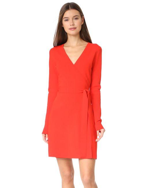 Diane von Furstenberg | Red V Neck Knit Wrap Dress | Lyst