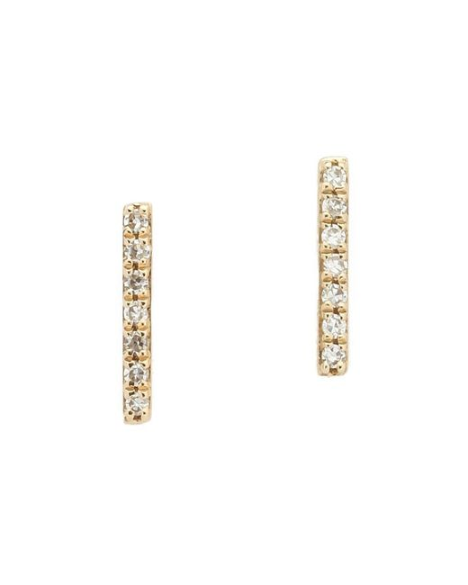 EF Collection | Metallic Diamond Bar Stud Earrings | Lyst