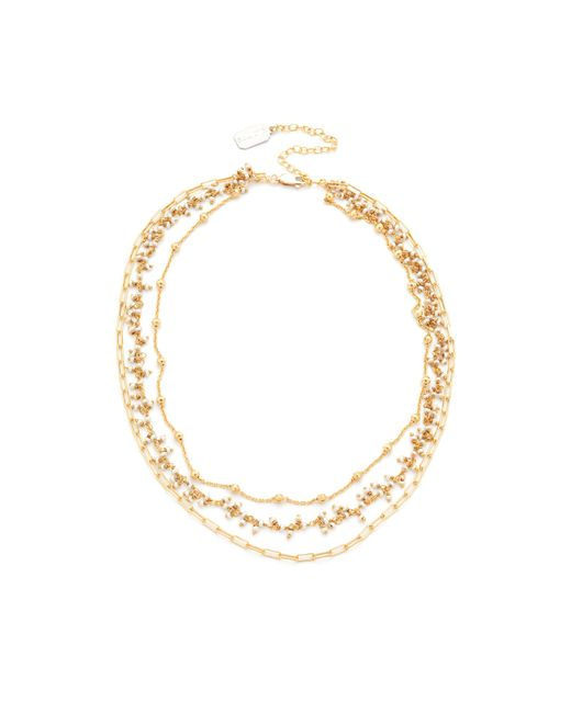Ela Rae   Metallic Three Layer Collar Necklace   Lyst