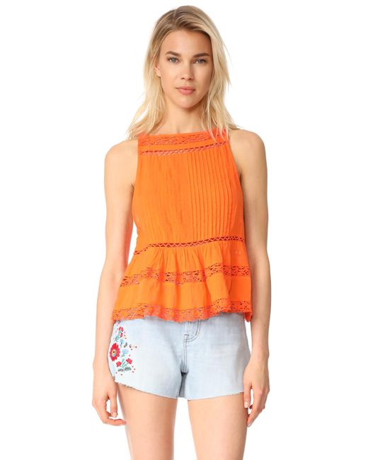 Free People | Orange Constant Crush Tank | Lyst