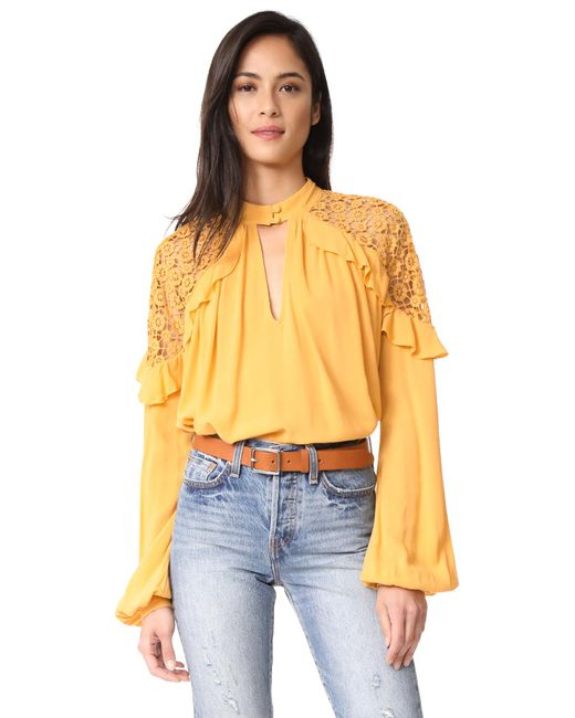 Free People | Yellow Little Bit Of Love Top | Lyst