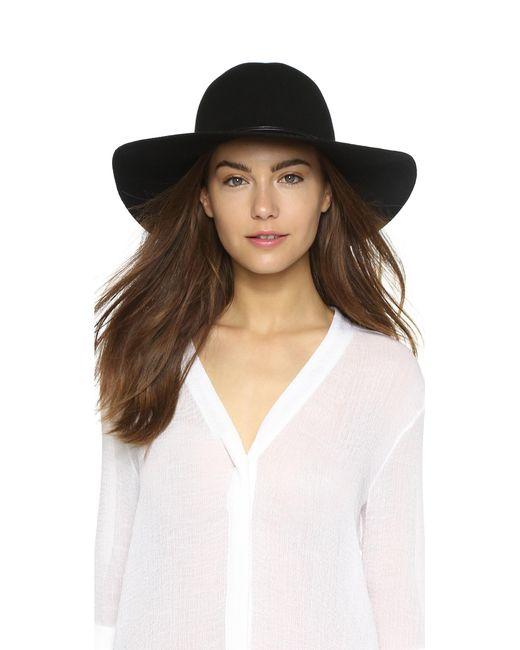 Hat Attack | Black Wool Felt Round Crown Floppy Hat | Lyst