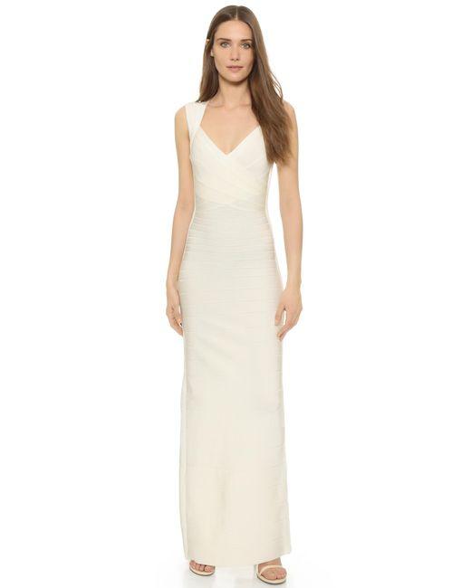 Hervé Léger   White Estrella Sleeveless Gown   Lyst