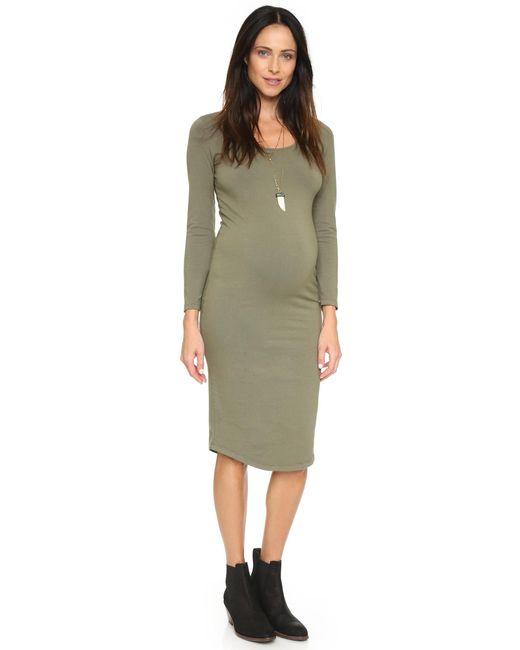 Monrow | Green Maternity Long Sleeve Dress | Lyst