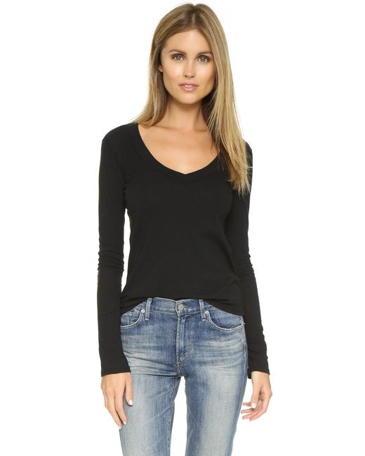 James Perse | Black Long Sleeve V Neck Tee | Lyst