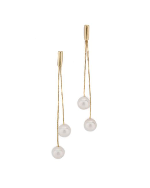 Kenneth Jay Lane | Metallic Imitation Pearl Dangling Earrings | Lyst