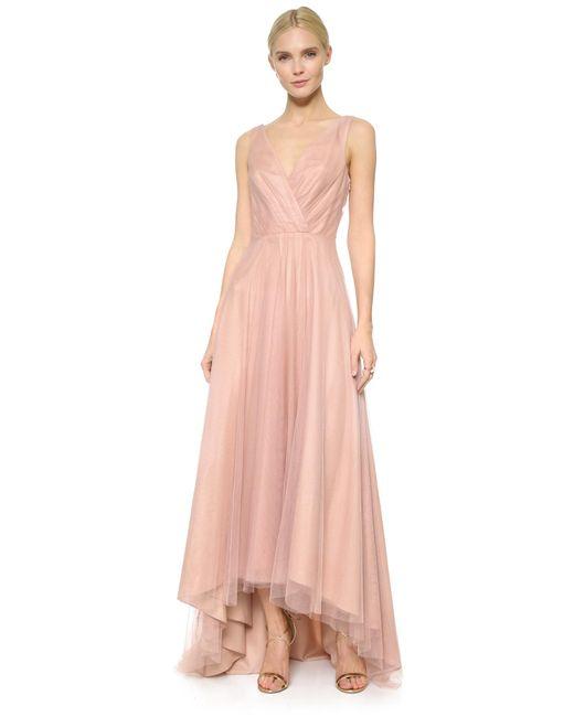 Monique Lhuillier Bridesmaids | Pink High Low Tulle Dress | Lyst