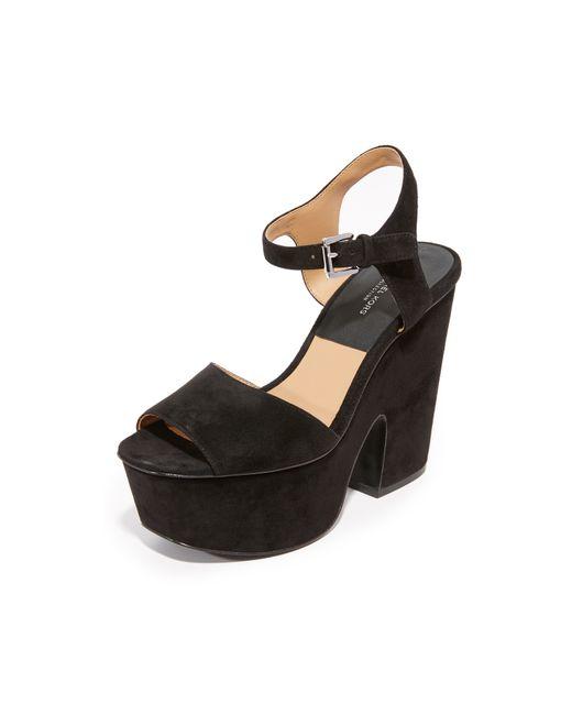 Michael Kors | Black Harley Suede Platform Sandal | Lyst