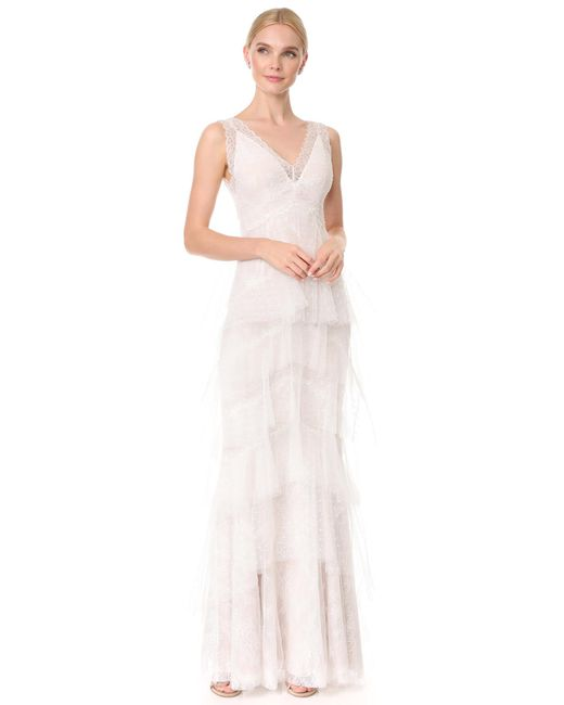 Notte by Marchesa | White Lace Gown With Tiered Skirt | Lyst