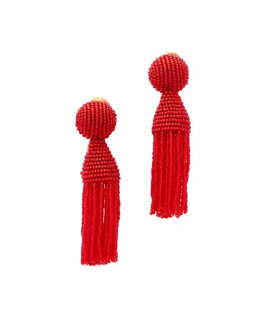 Oscar de la Renta   Red Short Beaded Tassel Clip On Earring   Lyst