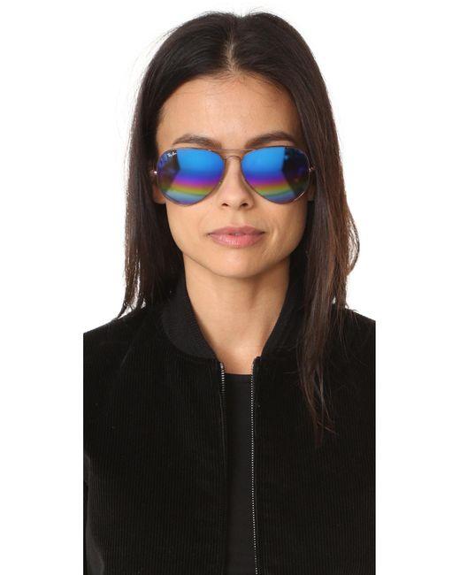 ray ban gold mirrored aviator sunglasses  Ray-ban Rainbow Mirrored Aviator Sunglasses in Blue