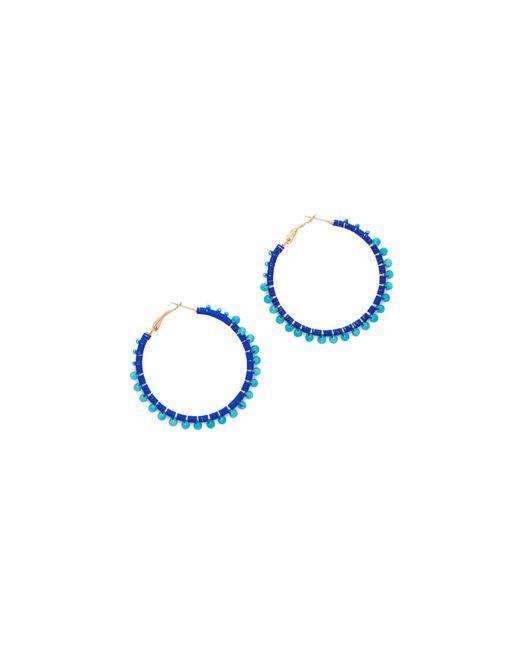 Rebecca Minkoff   Blue Thread Wrapped Hoop Earrings   Lyst