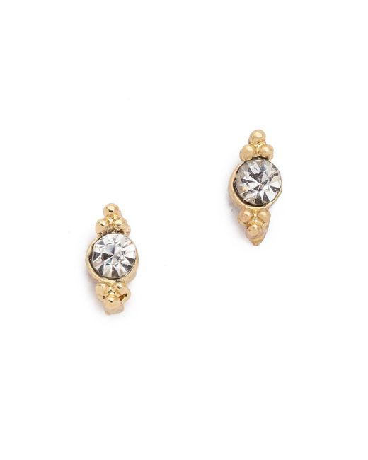 Shashi | Metallic Mini Ballerina Stud Earrings | Lyst
