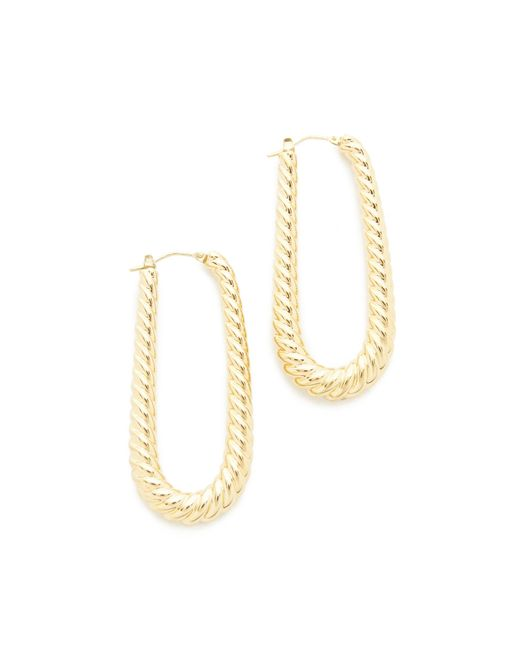 Soave Oro | Metallic Elongated Ribbed Hoop Earrings | Lyst