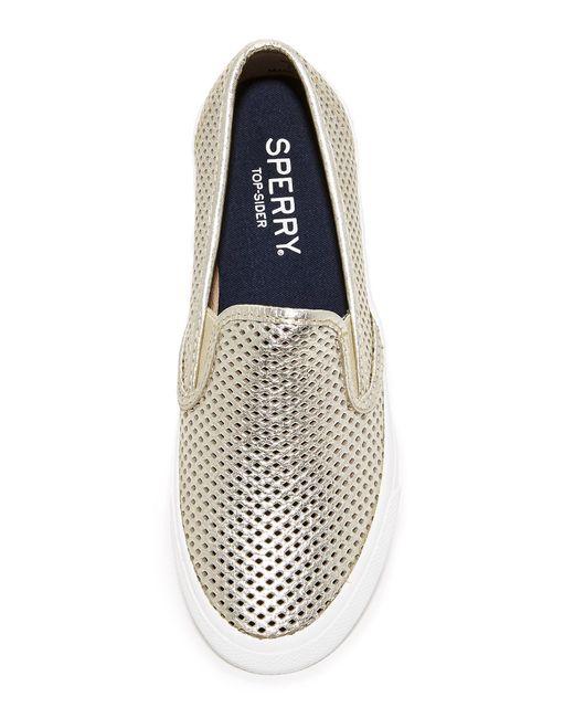Sperry Top Sider Seaside Perforated Slip On Sneakers In