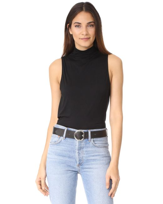 Splendid | Black Turtleneck Sleeveless Tank | Lyst