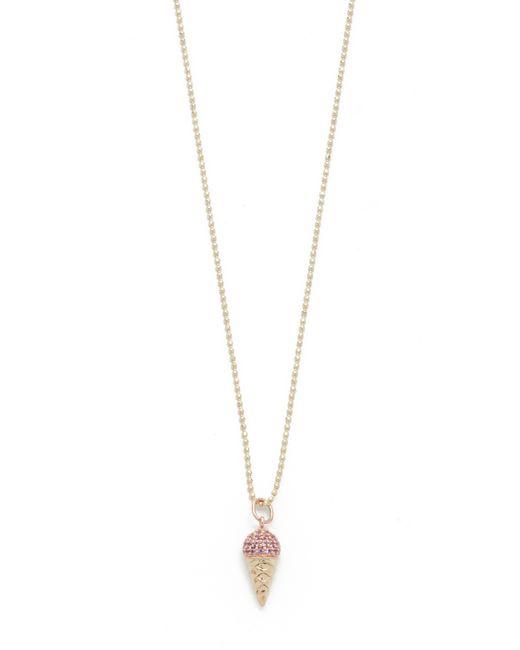Sydney Evan | Metallic Pink Sapphire Ice Cream Cone Necklace | Lyst