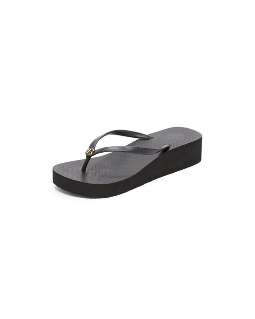 Tory Burch | Black Wedge Thin Flip Flop | Lyst