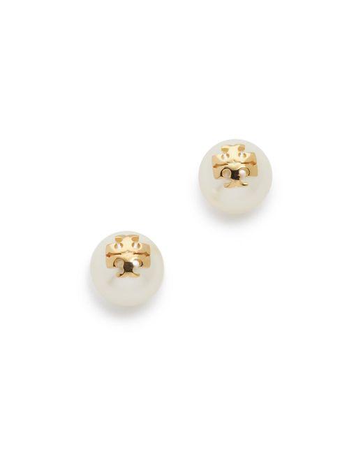 Tory Burch   White Swarovski Imitation Pearl Stud Earrings   Lyst