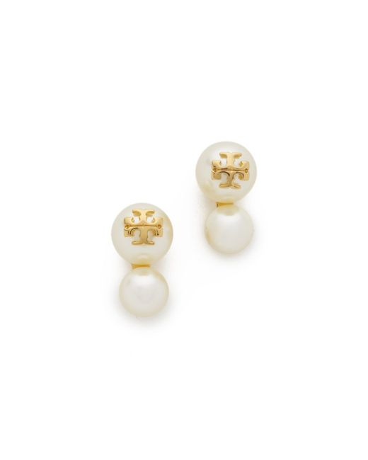 Tory Burch | White Swarovski Crystal Imitation Pearl Double Stud Earrings | Lyst