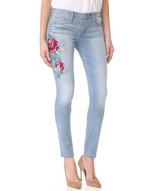 True religion halle mid rise embroidered skinny jeans in