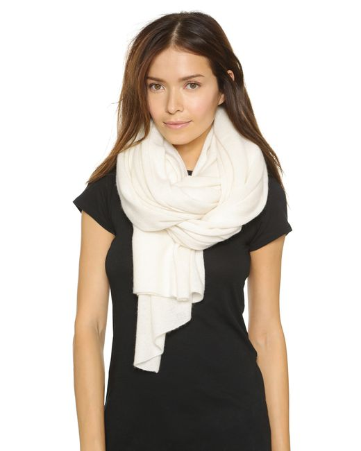 White + Warren | White Cashmere Travel Wrap Scarf | Lyst