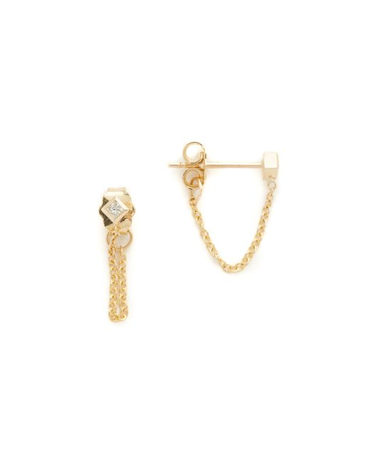 Zoe Chicco | Metallic Princess Diamonds Chain Earrings | Lyst