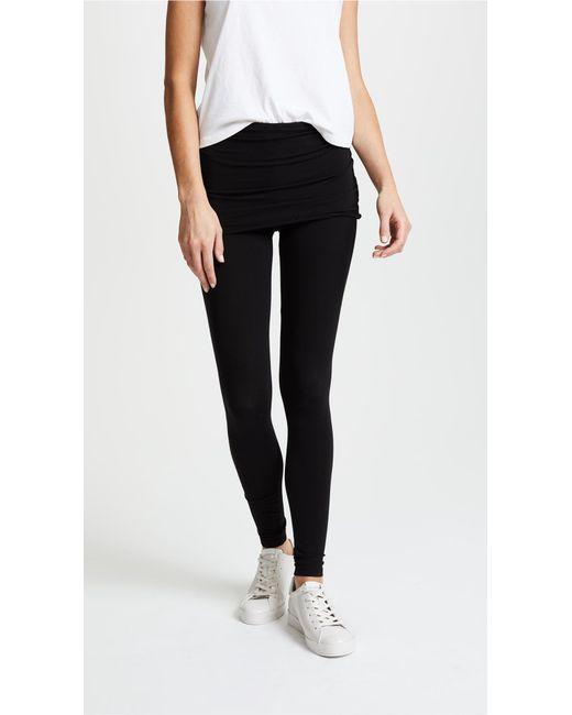 Splendid | Black Fold Over Leggings | Lyst