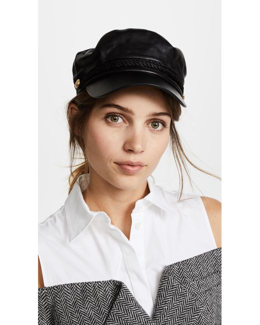 Hat Attack - Black Leather Emmy Cap - Lyst
