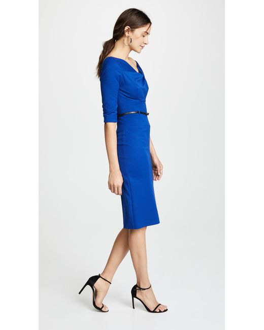 4b9476e797 ... Black Halo - Blue 3 4 Sleeve Jackie O Dress - Lyst ...