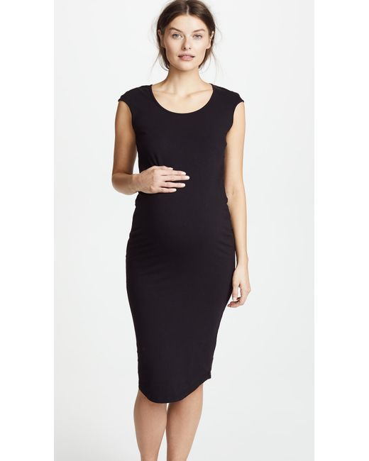 Lyst Monrow Maternity Cap Sleeve Dress In Black Save
