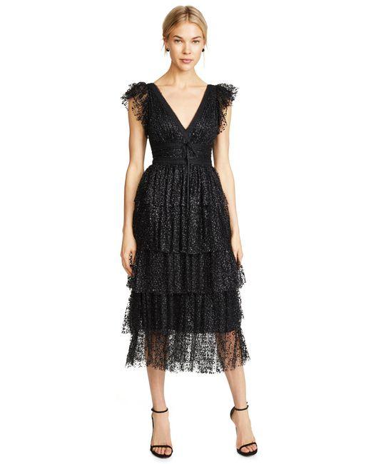 45c9735da1d ... Marchesa notte - Black Flutter Sleeve Cocktail Dress - Lyst