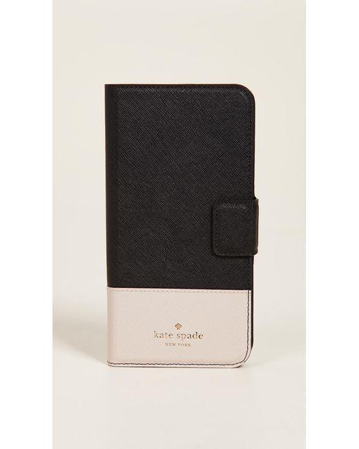 Kate Spade - Black Leather Wrap Folio Iphone 7 Plus / 8 Plus Case - Lyst