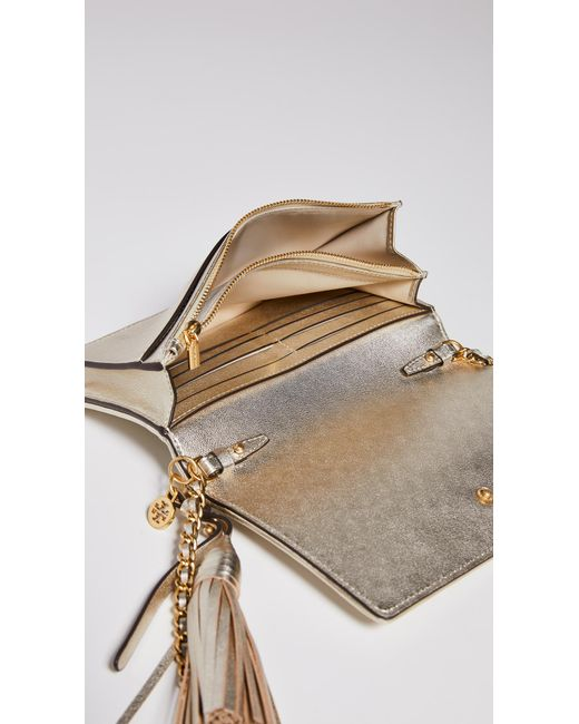 260a97aff640 ... Tory Burch - Fleming Metallic Flat Wallet Crossbody Bag - Lyst ...