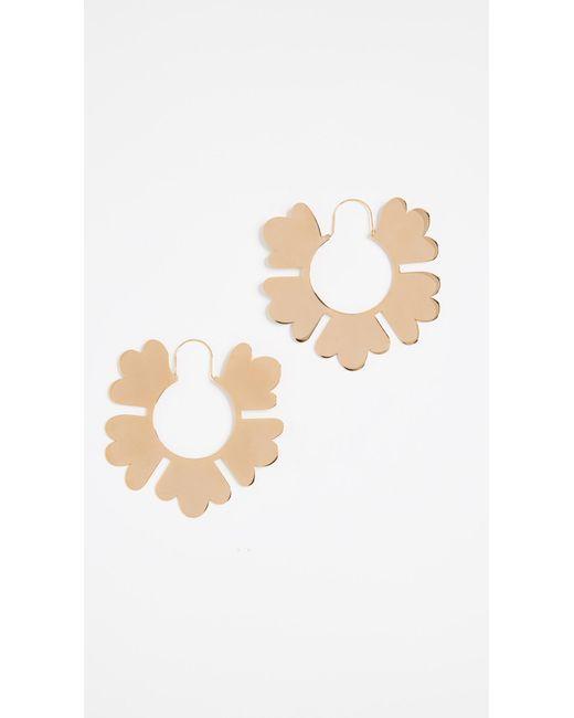 Tory Burch - Metallic Geo Flower Hoop Earrings - Lyst