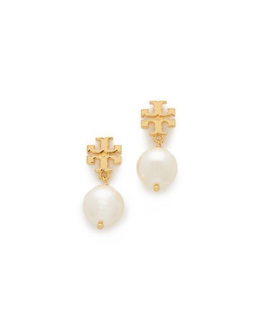 Tory Burch | Metallic Swarovski Crystal Imitation Pearl Drop Earrings | Lyst