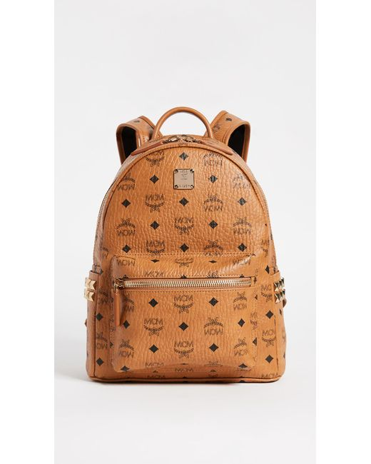 MCM - Brown Small Stark Coated Canvas Backpack - Lyst