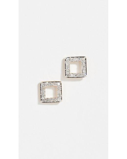 Mateo - Metallic 14k Mini Diamond Square Studs - Lyst